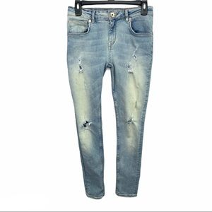 Ted Baker Distressed Light Wash Skinny Jeans